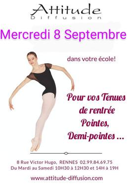 Venue du Magasin Attitude Diffusion à l'école de Danse à Vannes !  Horaires à venir !