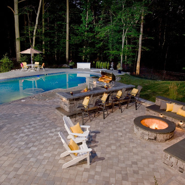 Outside Living, Fireplace, Pool deck pavers, Eating area