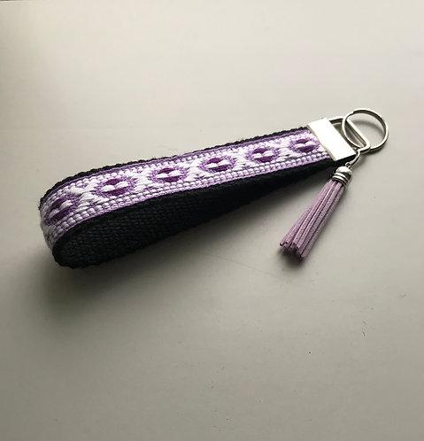 Woven Lavender & Gray Cotton Key Fob Wristlet