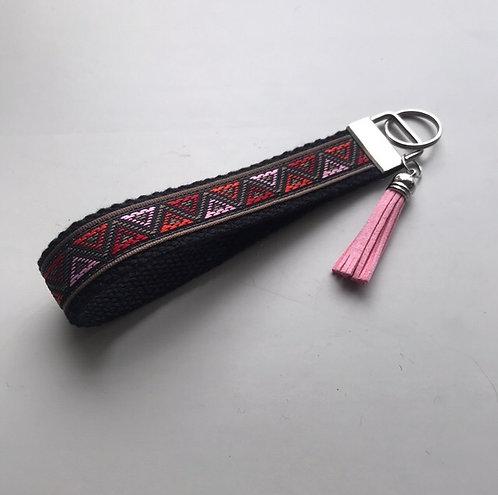 Onyx Blush Tribal Woven Key Fob Wristlet