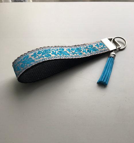 Jacquard Turquoise Teal Key Fob Wristlet