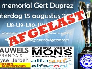 Memorial Gert Duprez afgelast
