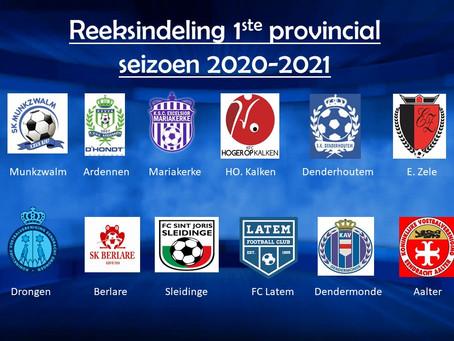 Reeksindeling 1ste provinciale seizoen 2020-2021