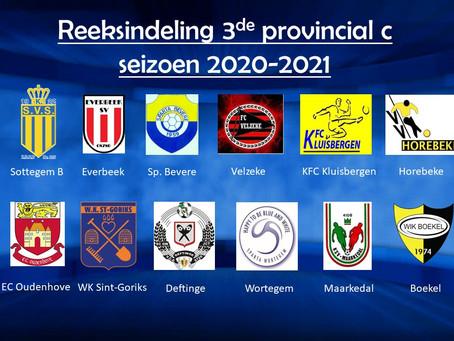 Reeksindeling 3de provinciale C, seizoen 2020-2021