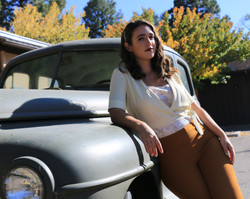 Old Car and Young Lady