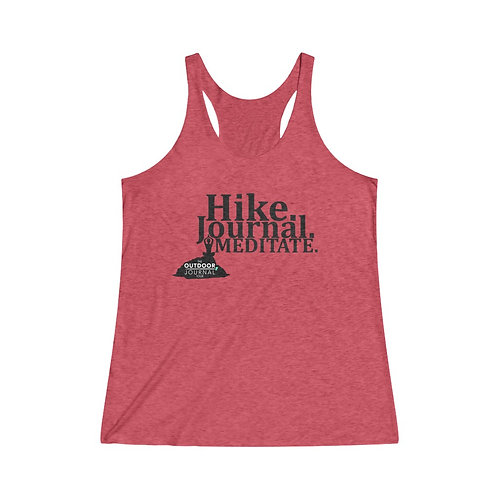 """Hike, Journal, Meditate"" ODJT Women's Tri-Blend Racerback Tank"