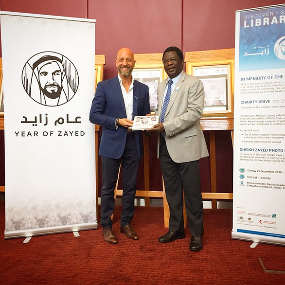 Feras receiving an award from Mutairu Ezimokhai (Provost Professor of Obstetrics and Gynecology), for raising awareness about the deaf and hard-of-hearing community worldwide and for teaching sign language to students at MBRU during the international week of the deaf.  All of the attendees thoroughly valued the deaf awareness course – the year of Zayed.