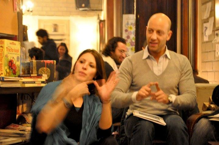 Feras' wonderful friend, BSL Interpreter Liana Lloyds who has interpreted for him.