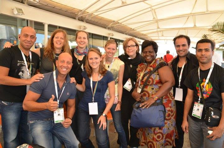 Feras' first time at a deaf conference, the WFD congress in Durban, South Africa. This exposed him to a lot of deaf culture and understanding of how to work with deaf professionals. A nice group photo with lots of professionals.