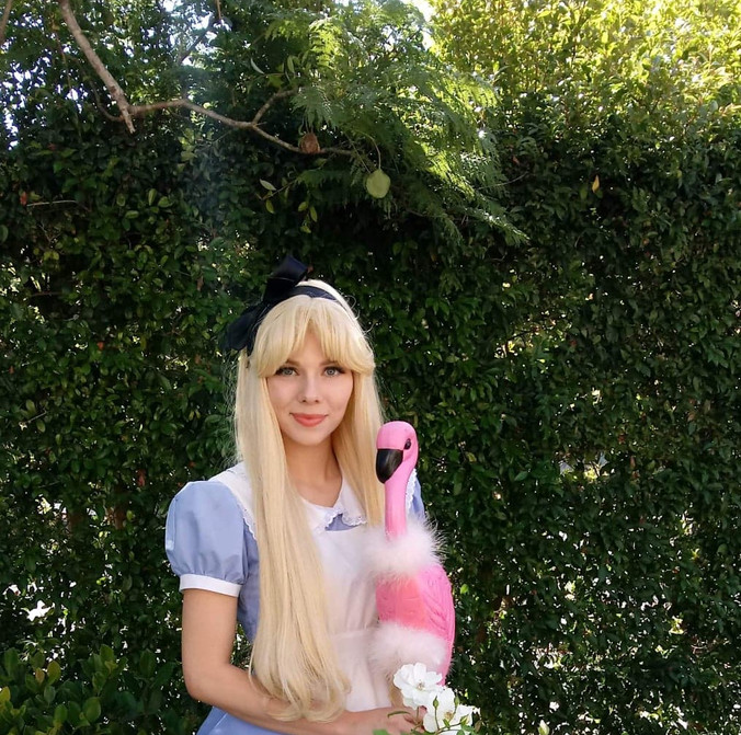 Alice with a flamingo