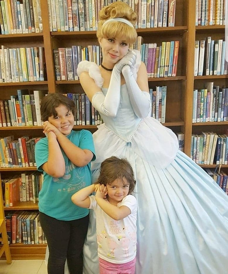 Cinderella at library with little girls