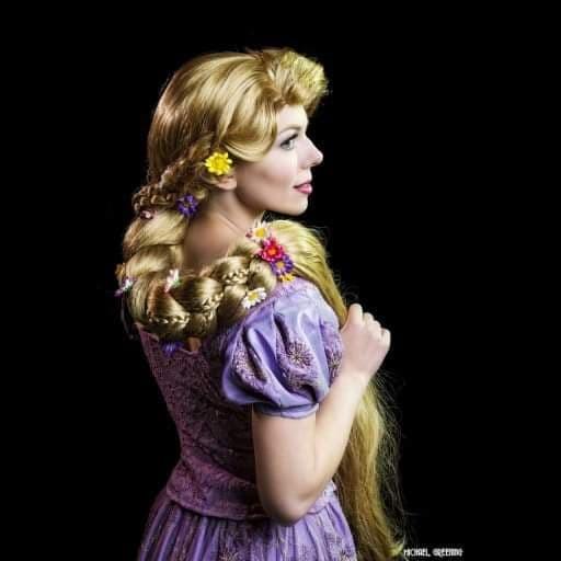 Rapunzel looking over shoulder
