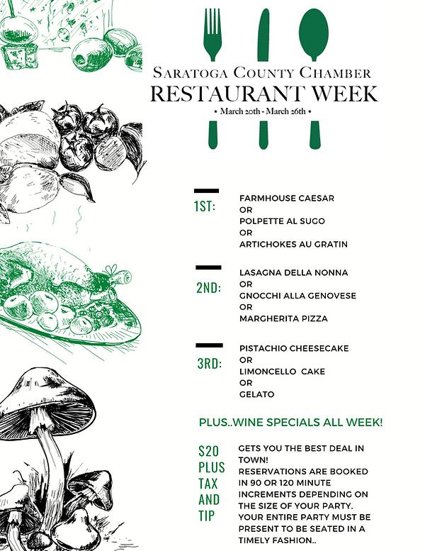 Saratoga County Restaurant Week Menu
