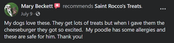 Poodle with allergies approves of Saint Rocco's Treats