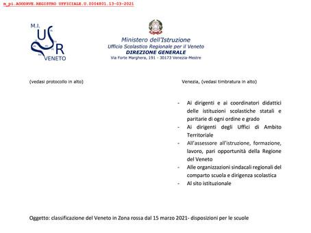 CHIUSURA Scuola da lunedì 15 marzo - MIUR Veneto