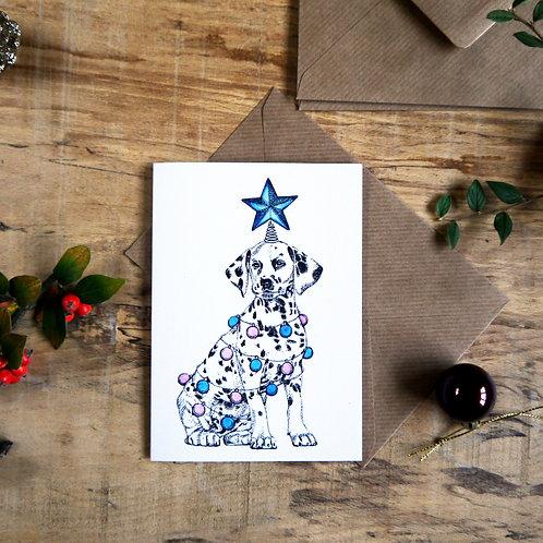 Dalmatian Dog with Star Christmas Greetings Card