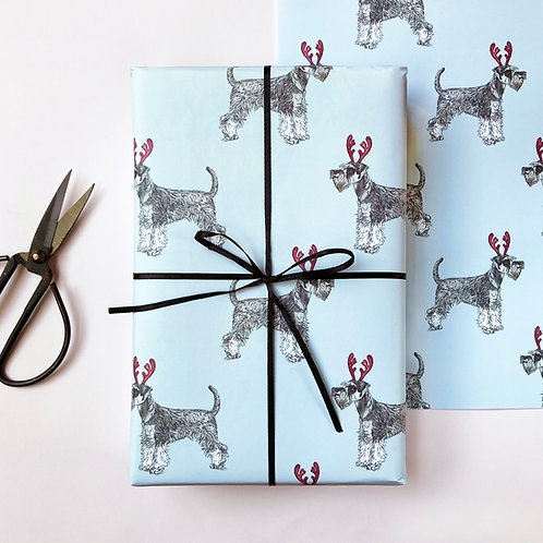 Festive Miniature Schnauzer Christmas Wrapping Paper