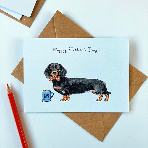Black and Tan Sausage Dog/Dachshund Father's Day Greetings Card