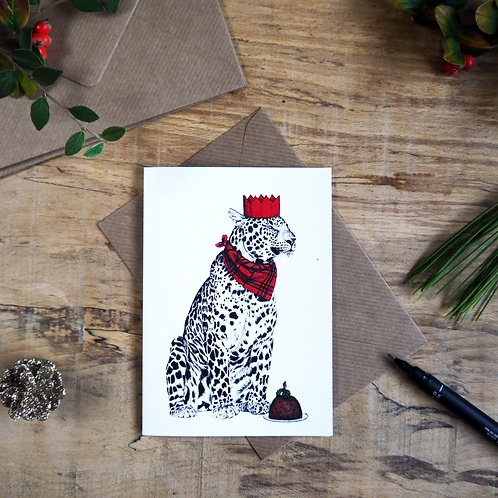 Leopard with Christmas Pudding Christmas Greetings Card