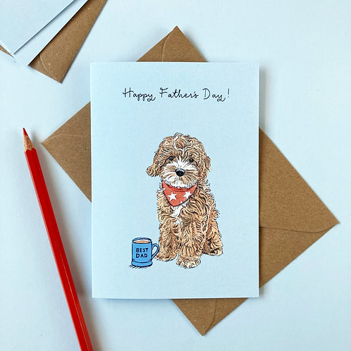 Cockapoo Dog Father's Day Greetings Card