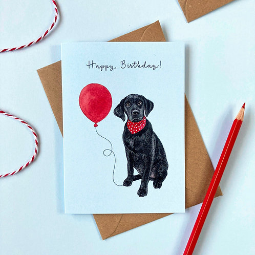 Black Labrador Dog Birthday Greetings Card