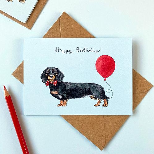 Black and Tan Sausage Dog/Dachshund Birthday Greetings Card