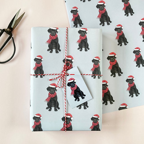 Festive Black Labrador Christmas Wrapping Paper