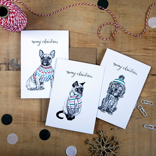 Winter Pets Assorted Christmas Card Pack