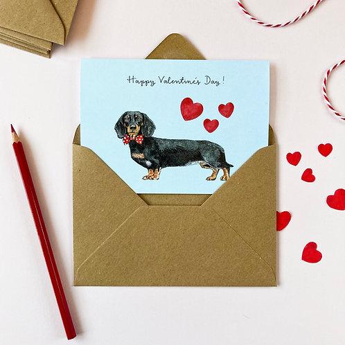 Black/Orange Dachshund Valentine's Day Card
