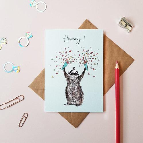 'Hooray!' Raccoon Greetings Card