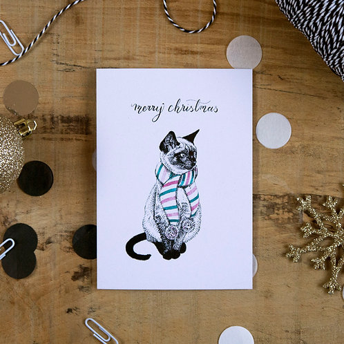 Siamese Cat in a Scarf Christmas Greetings Card