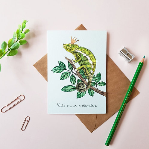 'One In A Chameleon' Greetings Card