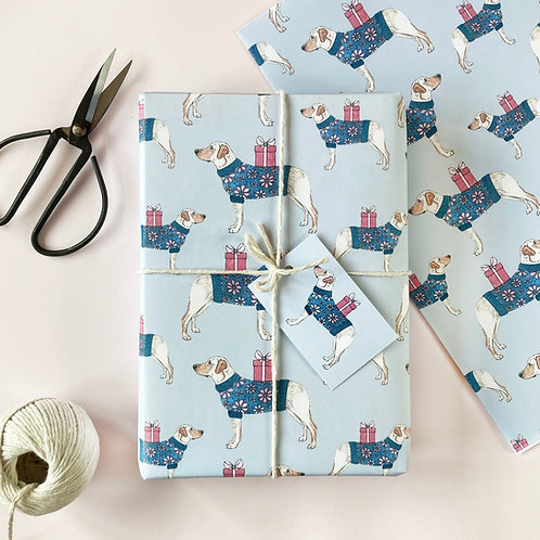 Festive Yellow Labrador Christmas Wrapping Paper