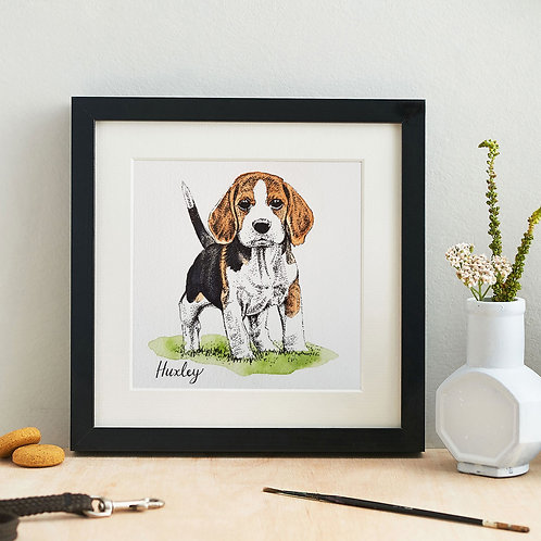 Personalised Watercolour Pet Portrait with Name