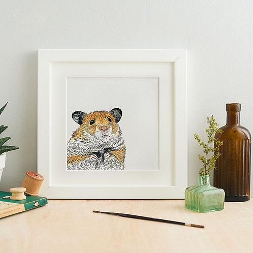 Peeking Hamster Giclee Art Print