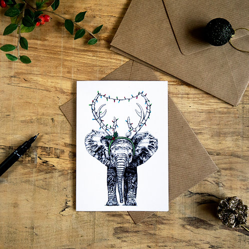Reindeer Elephant Christmas Greetings Card