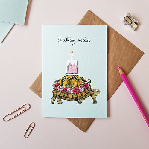 'Birthday Wishes' Tortoise Greetings Card
