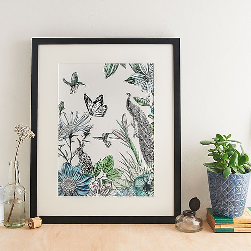 Peacock and Flowers Giclée Print