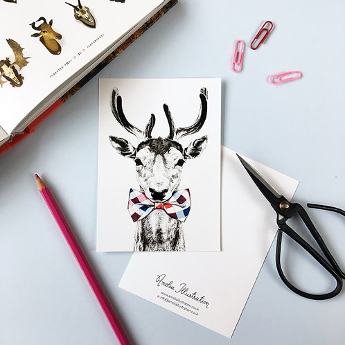 Deer in a Bow Tie A6 Postcard
