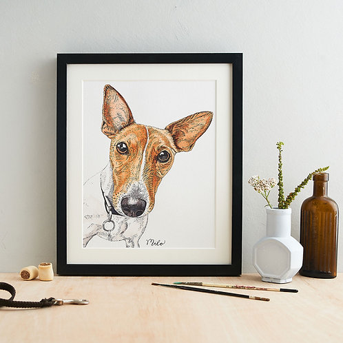 Personalised Dog Head and Shoulder Portrait