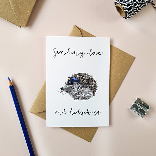 'Sending Love' Hedgehog Greetings Card