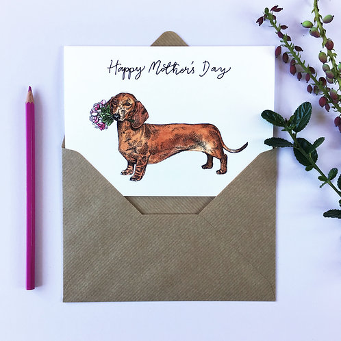 Sausage Dog with a Flower Bouquet Mother's Day Card
