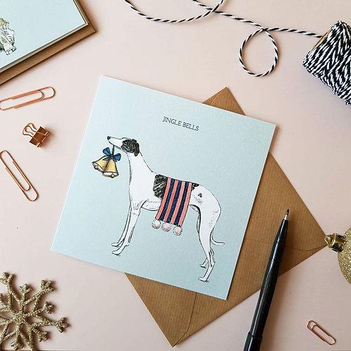 'Jingle Bells' Festive Whippet Christmas Card