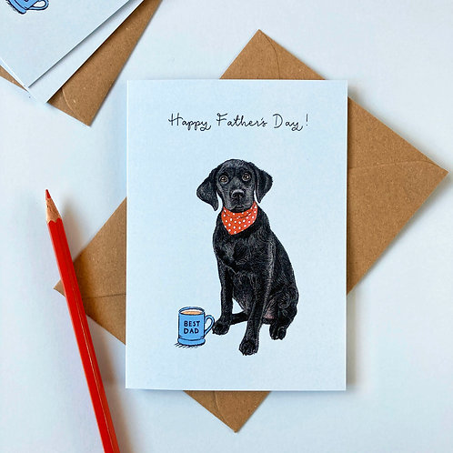 Black Labrador Dog Father's Day Greetings Card