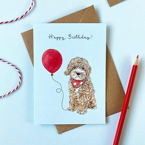Cockapoo Dog Birthday Greetings Card