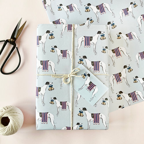Festive Whippets Christmas Wrapping Paper