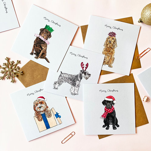 Festive Dogs Assorted Christmas Card Pack