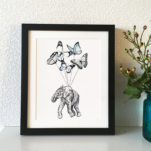 Baby Elephant with Butterflies Giclee Print
