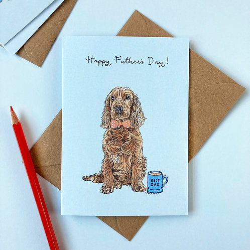 Golden Cocker Spaniel Dog Father's Day Greetings Card