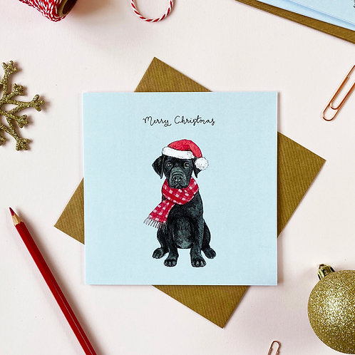 Festive Black Labrador Christmas Card